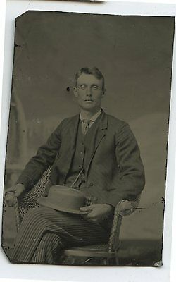 Antique Tintype Photo Young Man with Straw Hat Striped Pants