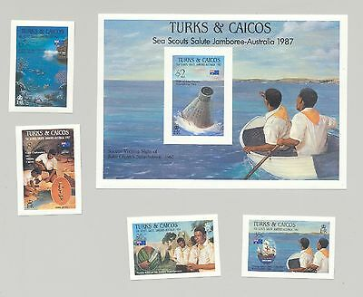 Turks & Caicos 1987 Boy Scouts Jamboree Scuba Diving Space Columbus 4v & 1v S/S
