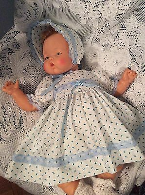 """Doll Clothes for 19""""/20"""" Large Thumbelina """"Blue Rosebuds Dress Set"""" by Maureen"""