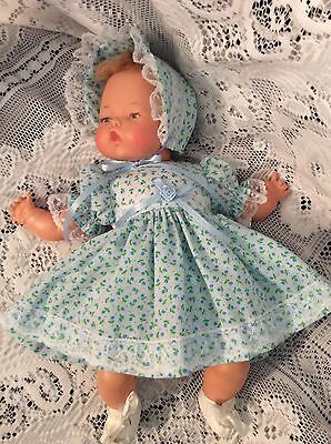 """Doll Clothes For 14"""" Tiny Thumbelina """"Pretty Blue Floral Dress Set"""" By Maureen"""