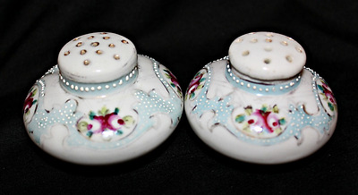 Vintage Hand Painted Moriage Floral Painted Salt & Pepper Shakers