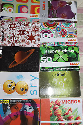 CARTE CADEAU  GIFT CARD -  Lot 10 cartes   ( SUISSE )