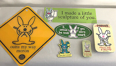 Happy Bunny Lot of 6 Poison Mint Tin Lip Gloss Stickers Magnet Jim Benton Funny