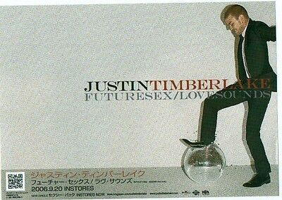 JUSTIN TIMBERLAKE Future Sex 2006 Japanese Flyer / mini Poster 8x6 inches