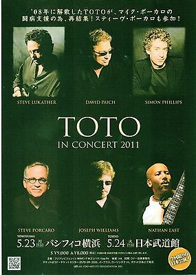TOTO In Concert 2011 Japanese Flyer / mini Poster 10x7 inches