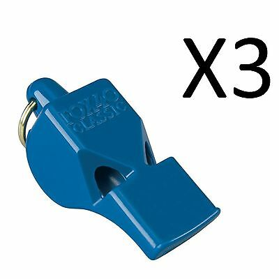 Fox 40 Classic Whistle Referee Coach Safety Alert Rescue Lifeguard-Blue (3-Pack)