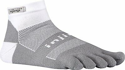 Injinji Perf 2.0 Run Midweight Mini Crew CoolMax XtraLife Toe Socks White/Gray-L