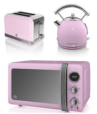 NEW Swan Kitchen Retro Set -PINK Microwave,1.7L Dome Kettle & 2 slice Toaster