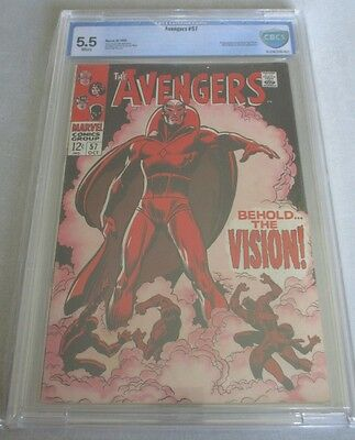 Avengers #57 1968 CBCS 5.5 White Pages 1st Vision