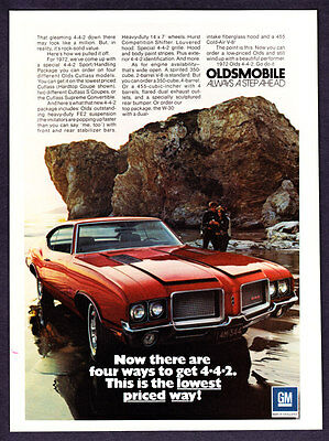 """1972 Oldsmobile 442 Hardtop Coupe photo """"Four Ways To Get One"""" promo print ad"""
