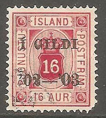1902 Iceland Official 16a. Carmine-Red SG O91 Used (Cat £65)
