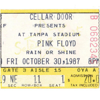 PINK FLOYD Concert Ticket Stub TAMPA 10/30/87 A MOMENTARY LAPSE OF REASON TOUR