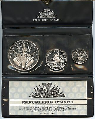 Haiti 1970 3 piece Pure Silver Proof Set, Republique D'Haiti
