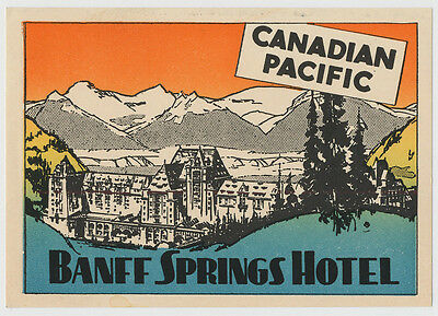 Banff Springs Hotel, Canadian Pacific, Art Deco Luggage Label 1930's