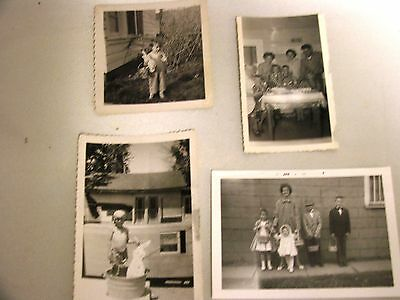 "Lot Of 4 Vintage Black & White Photos Easter ""the Egg Coloring Gang"" 1951-60"