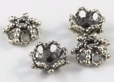 4 x Ornate 6mm Sterling Silver Oxidized Bead Caps (164)