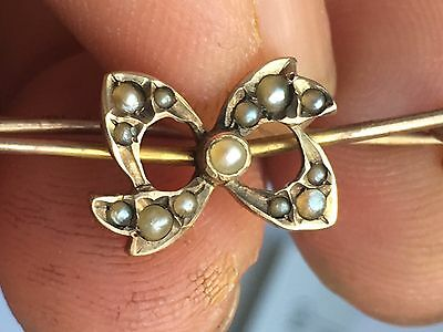 Hallmark 9ct M.B &co Murrle  Bennett Gold Seed Pearl Bow Brooch