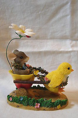 CHARMING TAILS Chickie Chariot Ride Chick Pulling Tulip Wagon w/ Mouse Inside