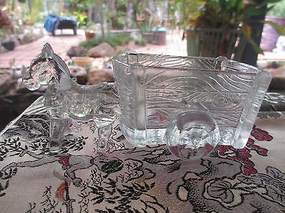 Vintage Glass Donkey & Cart 1940s