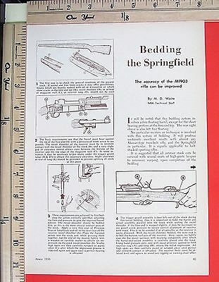 1956 BEDDING THE SPRINGFIELD M1903 rifle accuracy 2-Page MAGAZINE ARTICLE 5395a