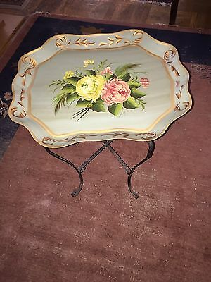Vintage Tole Tray Butler Coffee Table Metal Stand Unusual Floral