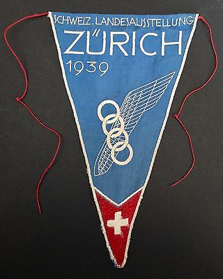 Original Pennant For Zurich 1939 Swiss National Exposition In Embroidered Fabric