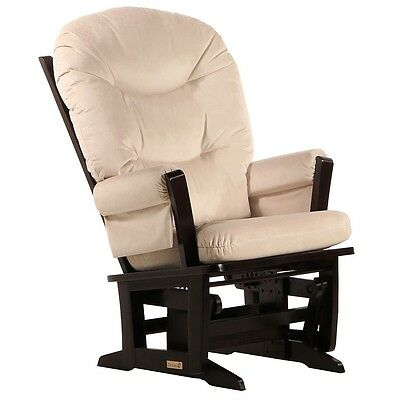 Dutailier Ultramotion- Modern Glider- Espresso Finish and Light Beige Fabric