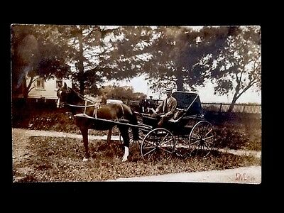 c1910 Rural Mail Delivery Horse & Carriage Rare Vintage Real Photo Postcard