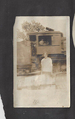Vintage Abstract Photo Woman In Front Of Train Blury Creepy Image