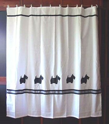 Scottish Terrier Dog Shower Curtain White with black dogs and check ribbon SALE