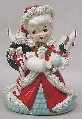 Vintage Christmas Napco Large Shopper Angel Planter Gifts Candy Cane Spaghetti