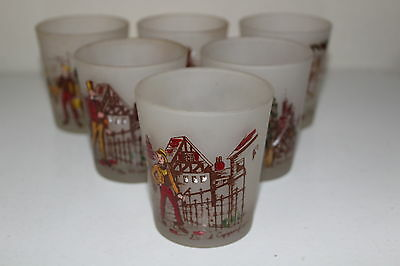 Vintage lot of 6 Charles Dickens Character Frosted Glasses Cocktail Hazel Atlas