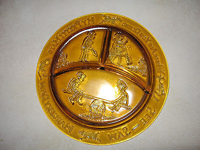 Tiara By R.S. Vintage Yellow Depression Glass Child's Plate Nursery Rhymes dish
