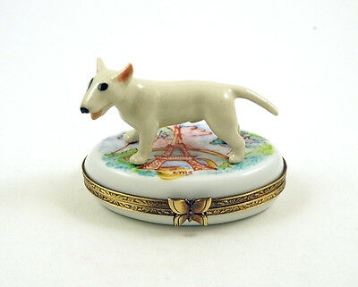 New Authentic French Limoges Trinket Box Bull Terrier Dog Puppy In Paris