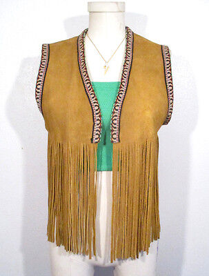 Vintage FRINGE SUEDE VEST Leather 1970's Embroidered Hippie Festival Embroidery