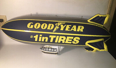 Goodyear Inflatable Blimp 32 Inches Long Good Condition Blue Yellow Silver/Gray