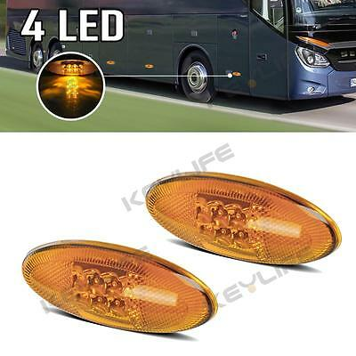 """2x 4.22"""" Reflective Side Turn Signal Marker Lamp 4Led Bus Parts Universal Amber"""