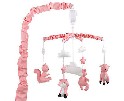 The Peanut Shell Woodland Musical Mobile - Coral