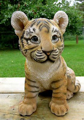 TIGER FIGURINE BABY SITTING STATUE 9.5 in. AFRICAN ANIMAL JUNGLE HOME DECOR CAT