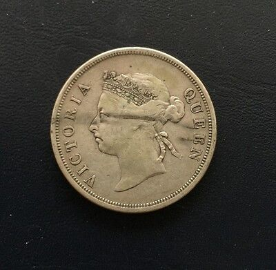 Straits Settlements 1898 Victoria 50 cents silver coin