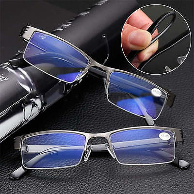 Mens High quality Half frame Style Blue Film Anti-radiation Reading glasses