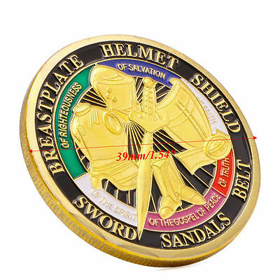 Gold Plated Put on the Whole Armor of God Commemorative Challenge Coin Token