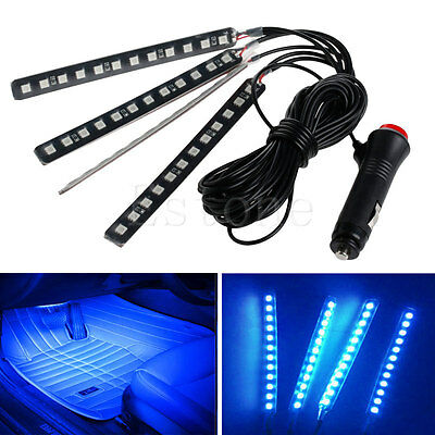 New Blue 4x12LED Car Interior Light Atmosphere Decorative Light Neon Lamp Strips