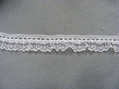 Gathered Lace & Eyelet White Single Sided 30mm wide  x 10 mts (SS720)