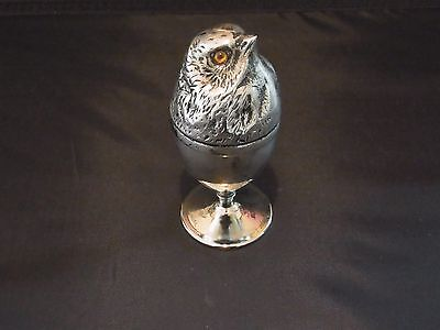 STUNNNING Antique Silver plate Chick egg cup - Chick Egg Holder with Glass eyes