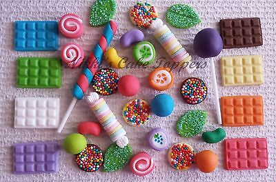 Edible fake Lollies Candy gingerbread house cupcake cake toppers decorations