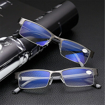 +1/1.5/2/3/3.5/4 Mens Half frame Style Blue Film Anti-radiation Reading glasses