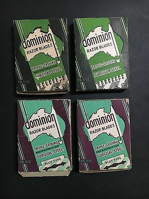RAZOR BLADE BOX LOT OF 4 DOMINION RAZOR BLADES 2 DIFFERENT FROM 1950's