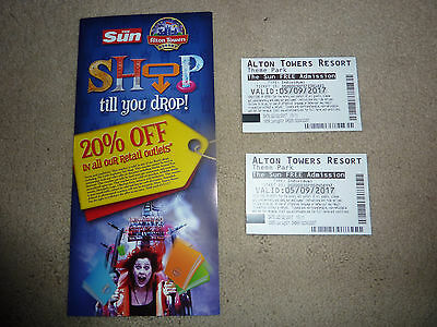 Alton Tower Tickets x 2 - Tuesday 5th September 2017