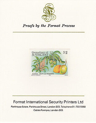 St Vincent Grens 4272 - 1985 FRUITS mperf on Format International PROOF  CARD